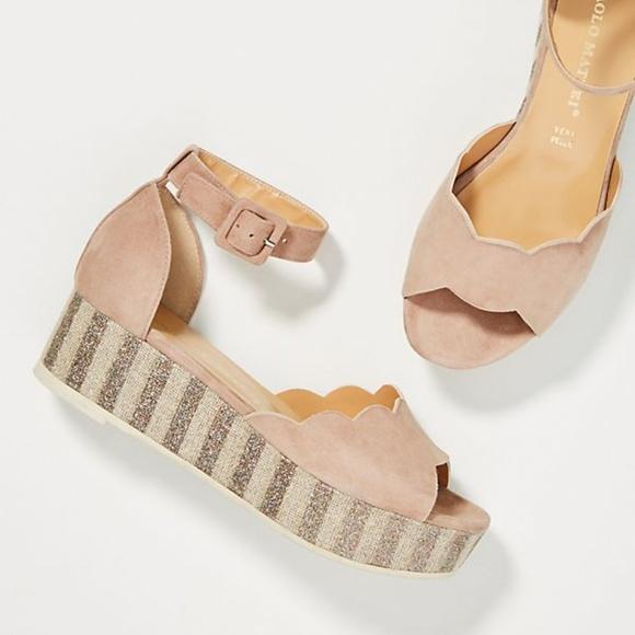 62f204b45754 Paolo Mattei Sparkle-Striped Platform Sandals new